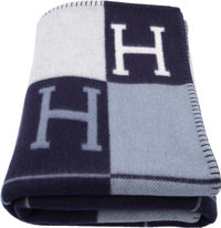 "Hermes Ecru & Caban Wool and Cashmere Avalon Blanket Condition: 1 53"" Width x 67"" Length<"