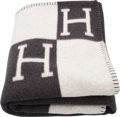"Luxury Accessories:Home, Hermes Ecru & Gris Fonce Wool and Cashmere Avalon Blanket.Condition: 1. 53"" Width x 67"" Length. ..."