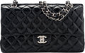 """Luxury Accessories:Bags, Chanel Black Quilted Patent Leather Medium Double Flap Bag withSilver Hardware. Condition: 1. 10"""" Width x 6"""" Height x2.5..."""