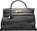 "Luxury Accessories:Bags, Hermes 40cm Black Clemence Leather Retourne Kelly Bag with GoldHardware. A Square, 1997. Condition: 4. 15.5""Widt..."