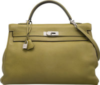 Hermes 40cm Vert Chartreuse Clemence Leather Retourne Kelly Bag with Palladium Hardware H Square, 2004<