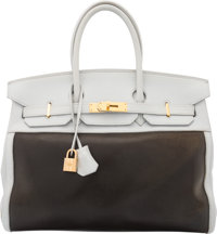 Hermes 35cm Blue Arctic Clemence Leather & Amazonia Birkin Bag with Gold Hardware F Square, 2002