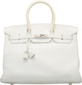 Luxury Accessories:Bags, Hermes 35cm White Clemence Leather Birkin Bag with Palladi...