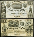 Obsoletes By State:Louisiana, New Orleans, LA- City of New Orleans Municipality No. One $50; $100 Oct. 30, 1837 Remainders. ... (Total: 2 notes)