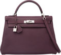 Luxury Accessories:Bags, Hermes 32cm Raisin Chevre Mysore Leather Retourne Kelly Bag withPalladium Hardware. L Square, 2008