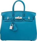 "Luxury Accessories:Bags, Hermes 25cm Blue Izmir Togo Leather Birkin Bag with Palladium Hardware. T, 2015. Condition: 1. 10"" Width x 8"" Heig..."