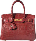 "Luxury Accessories:Bags, Hermes 30cm Matte Rouge H Nilo Crocodile Birkin Bag with GoldHardware. E Square, 2001. Condition: 3. 12"" Widthx ..."