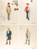 "Movie/TV Memorabilia:Costumes, A Rod Steiger Group of Costume Design Sketches Signed by Edith Head from ""W.C. Fields and Me.""... (Total: 4 Items)"
