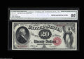 Large Size:Legal Tender Notes, Fr. 147 $20 1880 Legal Tender Star Note CGA Gem Uncirculated 66.Murray lists 19 examples for this Friedberg number: 17 mule...