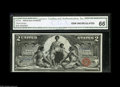 Large Size:Silver Certificates, Fr. 247 $2 1896 Silver Certificate CGA Gem Uncirculated 66. A beautiful Two Dollar Ed, with broad, even margins, perfect col...