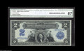 Large Size:Silver Certificates, Fr. 249 $2 1899 Silver Certificate CGA Gem Uncirculated 67. The centering on this Washington Deuce is excellent, and the emb...