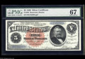 Large Size:Silver Certificates, Fr. 262 $5 1886 Silver Certificate PMG Superb Gem Uncirculated 67.The original embossing remains easy to see through the th...