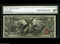 Large Size:Silver Certificates, Fr. 268 $5 1896 Silver Certificate CGA Gem Uncirculated 67. Fivedollar Ed's are seldom seen with the margins, color and eye...