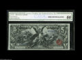 Large Size:Silver Certificates, Fr. 269 $5 1896 Silver Certificate CGA Gem Uncirculated 66. Thisbroadly margined $5 Ed has retained its original embossing,...