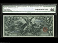 Large Size:Silver Certificates, Fr. 270 $5 1896 Silver Certificate CGA Gem Uncirculated 66. Aglorious Five Dollar Ed, with broad, even margins and perfect ...