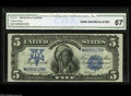 Large Size:Silver Certificates, Fr. 278 $5 1899 Silver Certificate CGA Gem Uncirculated 67. Excellent original embossing - that can be seen through the CGA ...