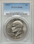 Eisenhower Dollars, 1973 $1 MS66 PCGS. PCGS Population: (140/0). NGC Census: (36/1). CDN: $400 Whsle. Bid for problem-free NGC/PCGS MS66. Minta...