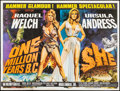 "Movie Posters:Fantasy, One Million Years B.C./She Combo (Warner Pathe, R-1968).Autographed British Quad (30"" X 40""). Fantasy.. ..."