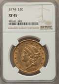 Liberty Double Eagles: , 1874 $20 XF45 NGC. NGC Census: (37/1161). PCGS Population: (32/916). XF45. Mintage 366,800. ...