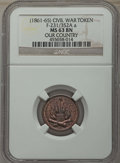 Civil War Tokens, (1861-65) Our Country, F-231/352A a, MS63 Brown NGC. This lot willalso include a: 1863 Army & Navy, F-11/298 a, MS63 Br...(Total: 2 coins)