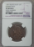 1787 Connecticut Copper, Draped Bust Left -- Edge Damage -- NGC Details. VF. NGC Census: (59/353). PCGS Population: (87/...