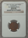 Civil War Tokens, (1861-65) The Federal Union, F-219/320 a, MS64 Red and Brown NGC.This lot will also include a: (1861-65) Our Army, F-51/... (Total:2 coins)