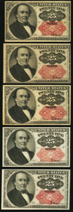 Fractional Currency:Fifth Issue, Five Fr. 1309 25¢ Fifth Issue Notes Fine-Very Fine or Better.. ...(Total: 5 notes)