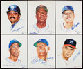 """Baseball Collectibles:Others, Signed Ron Lewis """"Living Legends"""" Complete Set (20) with 17 Signed - Includes Mantle, Mays, & Jackson. . ..."""
