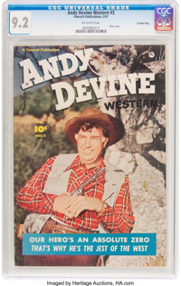 Andy Devine Western #2 Crowley Copy Pedigree (Fawcett Publications, 1951) CGC NM- 9.2 Off-white pages