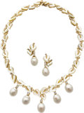 Estate Jewelry:Suites, South Sea Cultured Pearl, Diamond, Mother-of-Pearl, Gold JewelrySuite, Trio. ... (Total: 2 Items)