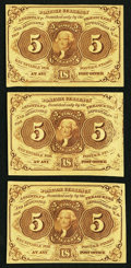Fractional Currency:First Issue, Three Fr. 1231 5¢ First Issue Notes Extremely Fine or Better.. ... (Total: 3 notes)