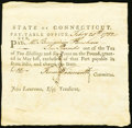 Colonial Notes:Connecticut, Connecticut Pay Table Office £10 February 20, 1782 Extremely Fine-About New.. ...