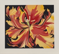 Lowell Nesbitt (1933-1993) Red and Yellow Parrot Tulips, 1980 Screenprint in colors on paper 24-1