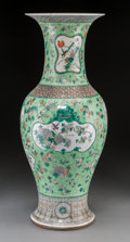 Asian:Chinese, A Chinese Enameled Famille Verte Porcelain Baluster Vase, late Qingdynasty. 24-7/8 inches high (63.2 cm). ...