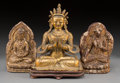 Asian:Chinese, A Tibetan Gilt Bronze Seated Bodhisattva with Two Gilt andLacquered Earthenware Bodhisattvas, 18th-19th century. 5-5/8inch... (Total: 3 Items)
