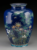 Asian:Japanese, A Japanese Silver and Cloisonné Vase, Meiji Period, circa1868-1912. Marks: (jungin mark). 9-1/4 inches high (23.5 cm). ...