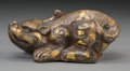 Asian:Chinese, A Chinese Han-Style Inlaid Bronze Beast. Late Ming / Early QingDynasty. 2-1/8 h x 4-5/8 w x 2-3/8 d inches (5.4 x 11.7 x 6....