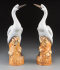 Asian:Chinese, A Pair of Chinese Porcelain Cranes, Republic Period, circa1912-1949. Marks: (impressed seal). 15-5/8 inches high (39.7 cm)...(Total: 2 Items)