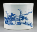 Asian:Chinese, A Chinese Blue and White Porcelain Brush Pot. Marks: Two sealmarks. 5-3/4 inches high x 7-1/8 inches diameter (14.6 x 18.1 ...