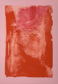 Helen Frankenthaler (1928-2011) Divertimento, 1983 Lithograph in red on rare pink paper, with full m