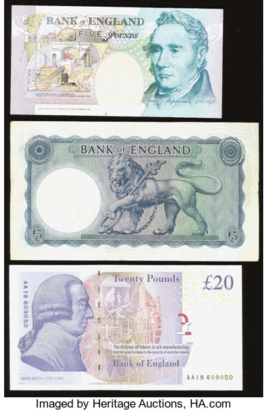 World Currency Great Britain Bank Of England Three Examples