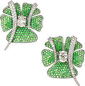 Estate Jewelry:Earrings, Diamond, Tsavorite Garnet, Titanium, Gold Earrings. ...
