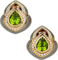 Estate Jewelry:Earrings, Peridot, Diamond, Enamel, Gold Earrings, De Vroomen, English. ...