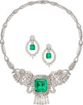 Estate Jewelry:Suites, Emerald, Diamond, White Gold Jewelry Suite. ... (Total: 2 Items)