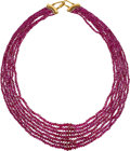 Estate Jewelry:Necklaces, Ruby, Gold Necklace, Carvin French. ...