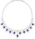 Estate Jewelry:Necklaces, Sapphire, Diamond, White Gold Necklace . ...