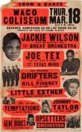 Music Memorabilia:Posters, Temptations/Jackie Wilson Waco Coliseum Concert Poster (1965).Extremely Rare....