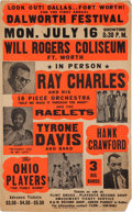 Music Memorabilia:Posters, Ray Charles/Ohio Players Will Rogers Coliseum Concert Poster(1973). Extremely Rare....