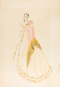 """Movie/TV Memorabilia:Original Art, A Vivien Leigh Costume Design Sketch Signed by Walter Plunkett from""""Gone With The Wind.""""..."""