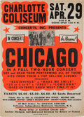 Music Memorabilia:Posters, Chicago Charlotte Coliseum Concert Poster (Concerts, Inc. Presents,1972). Extremely Rare....